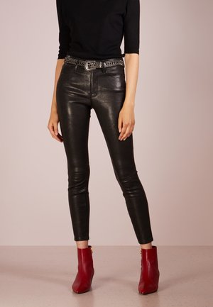 Leather trousers - washed black