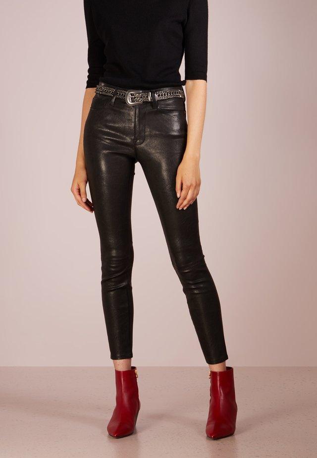 Kožené kalhoty - washed black
