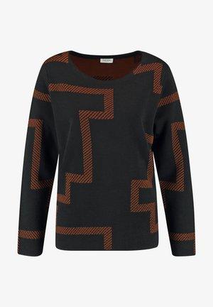 MIT WOLLE - Sweatshirt - schwarz/ haselnuss
