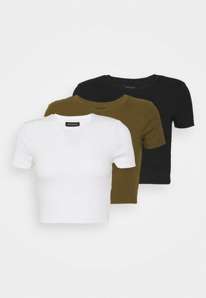 3 PACK - T-shirts - black/white/khaki