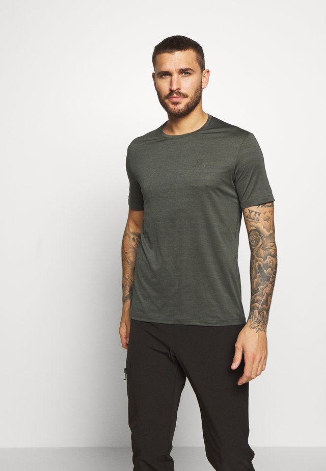 TEE - Basic T-shirt - olive night/heather