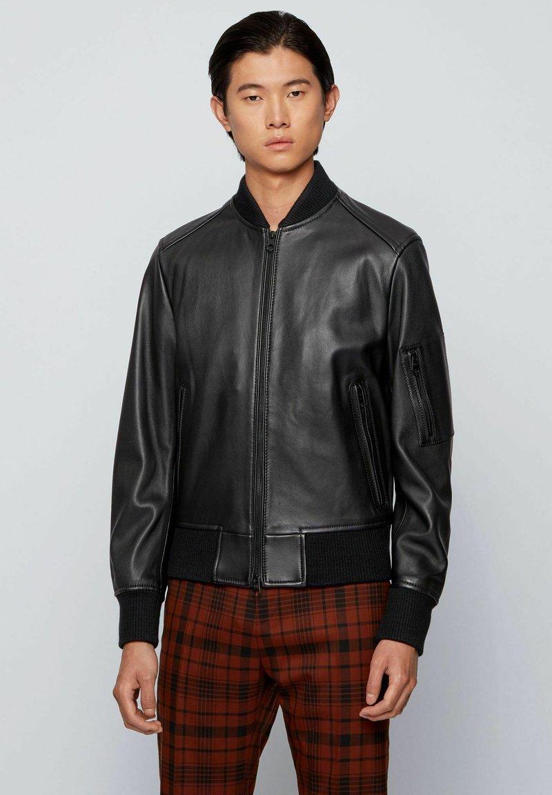 BOSS - NAITRO - Veste en cuir - black