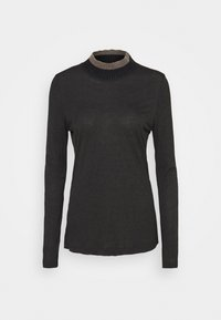 FTC Cashmere - HIGHNECK - Long sleeved top - dark grey melange - 0