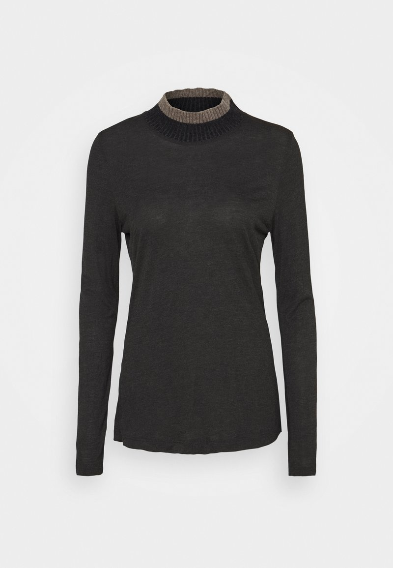 FTC Cashmere - HIGHNECK - Long sleeved top - dark grey melange