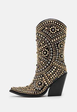 STUDLEY - High heeled ankle boots - black/gold