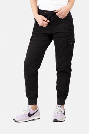REFLEX WOMEN RIB CARGO - Trousers - black