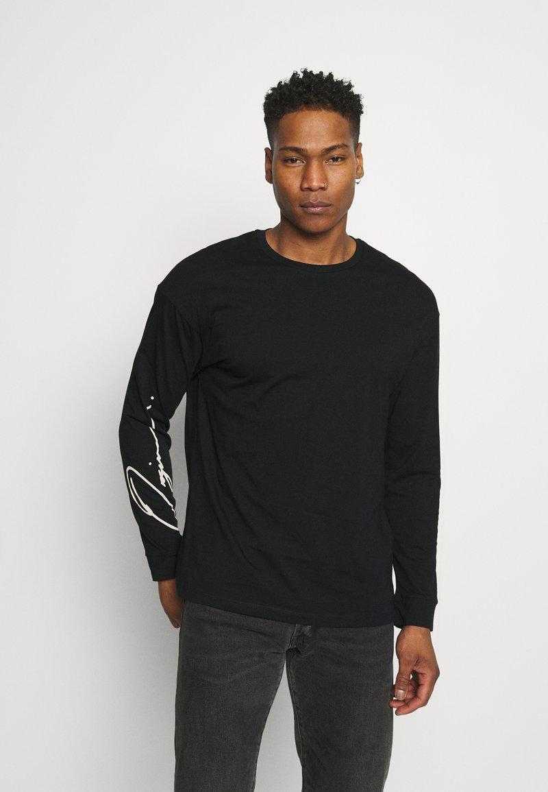 Jack & Jones - JORSCRIPTT TEE CREW NECK - Long sleeved top - black