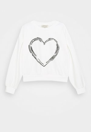 GIROCOLLO IN SCUBA CON PERLE - Long sleeved top - off white