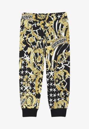 PANTALONE LUNGO FELPA - Pantalon classique - nero/oro