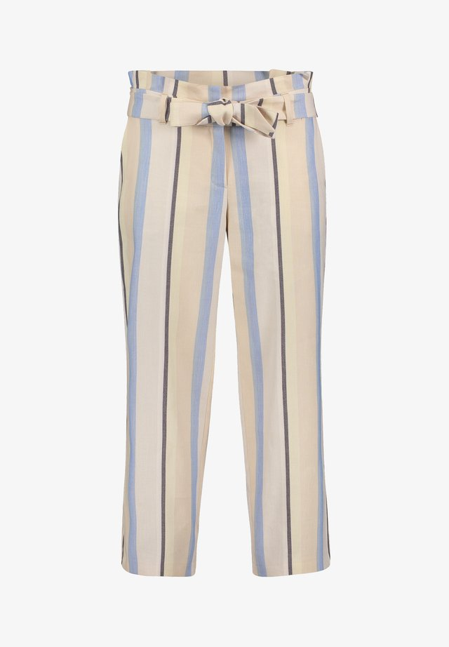 MIT BINDEGÜRTEL - Trousers - light blue/cream