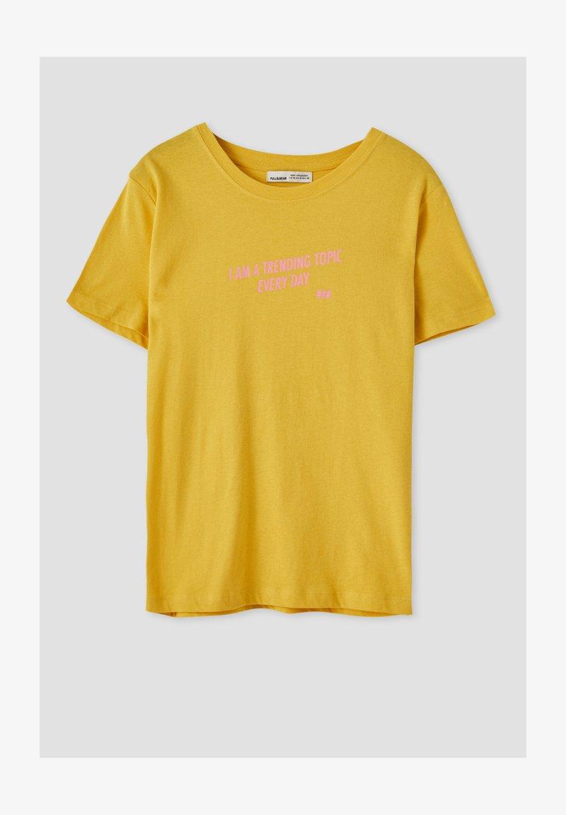 PULL&BEAR - Print T-shirt - yellow