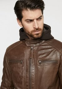 Serge Pariente - ERIC HOOD - Leather jacket - mocca - 4