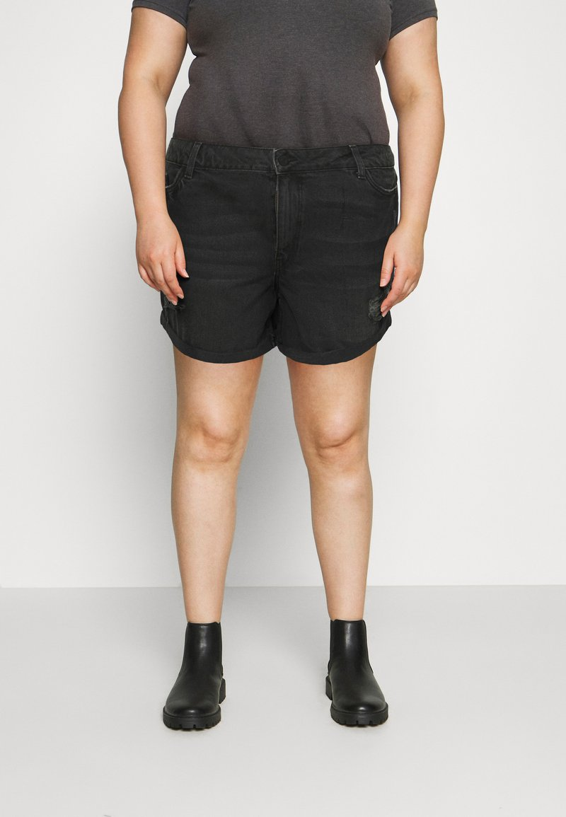 Noisy May Curve - NMSMILEY - Shorts di jeans - black denim