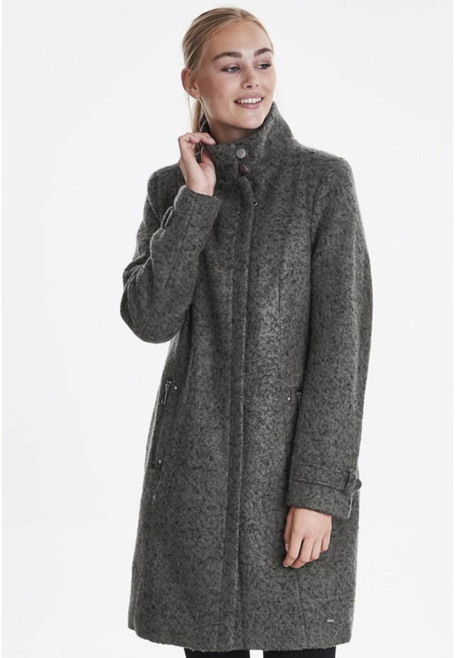 FRESWOOL - Classic coat - mottled dark grey