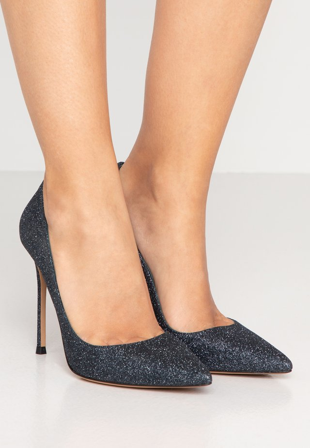 Klassiska pumps - navy glitter