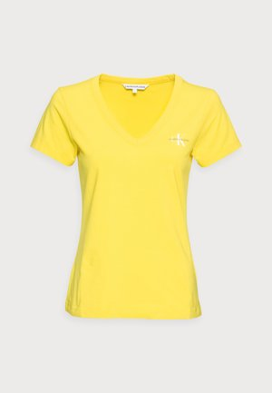 MONOGRAM SLIM V-NECK TEE - Basic T-shirt - yellow
