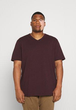 ESSENTIAL V NECK TEE - T-shirt basic - burgundy
