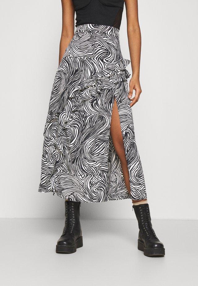 RUFFLE ZEBRA MIDAXI SKIRT - A-line skirt - mono