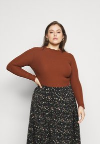 ONLY Carmakoma - CARALLY HIGH NECK - Long sleeved top - cherry mahogany - 0