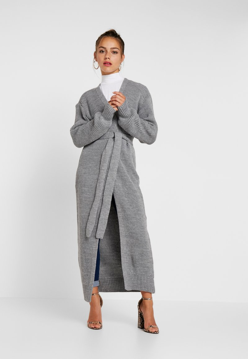Missguided Petite - MAXI BELTED CARDIGAN - Cardigan - grey