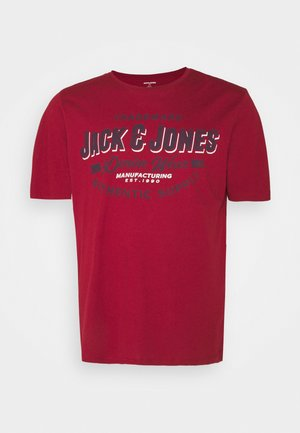 JJELOGO TEE O NECK - Print T-shirt - red dahlia