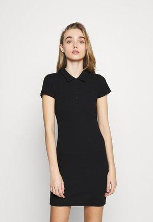SHORT SLEEVE POLO MINI - Shift dress - black
