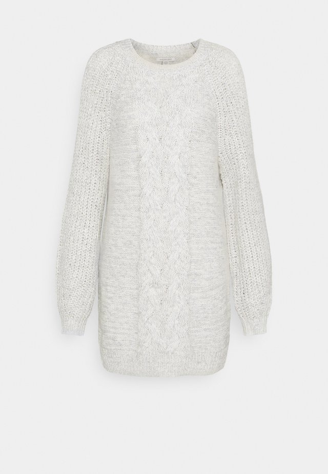 CABLE MOCK SWEATER DRESS - Gebreide jurk - gray