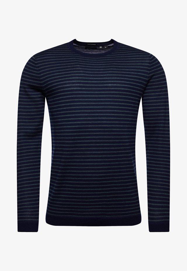 Pullover - carbon navy/greenwich green stripe