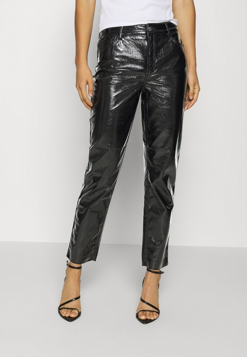 ONLY - ONLEMILY VENYL PANT - Trousers - black