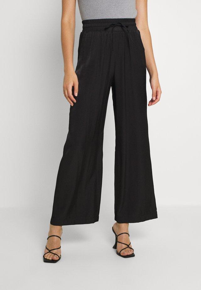 FOSTER HIGH WAIST TROUSERS - Pantaloni - black plain