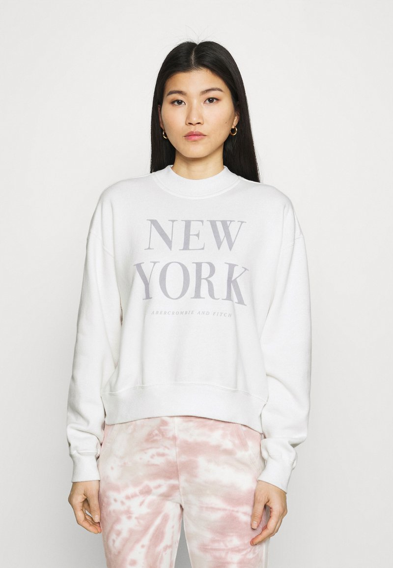 Abercrombie & Fitch - MOCK NECK LOGO CREW - Sweatshirt - white