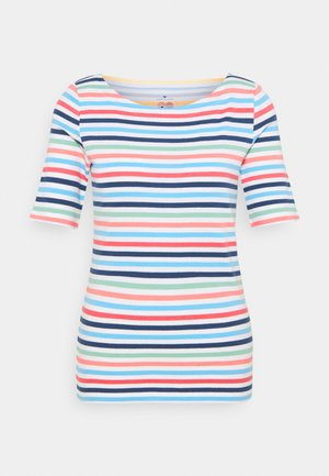 Print T-shirt - peach blue mulitcolor stripe