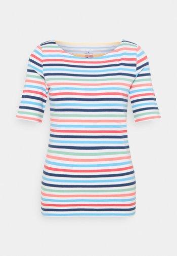 Print T-shirt - peach blue mulitcolor stripe