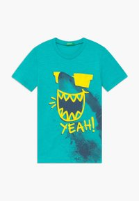 Benetton - T-shirt con stampa - light blue - 0