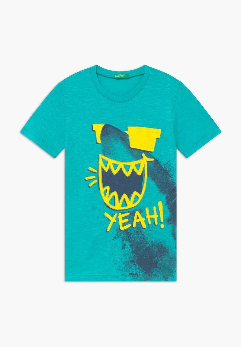 Benetton - T-shirt con stampa - light blue