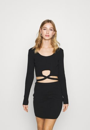 CUT OUT WAIST TIE DETAIL - Day dress - black