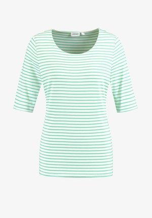 1/2 ARM GERINGELTES - Print T-shirt - grün/ecru/weiss ringel1
