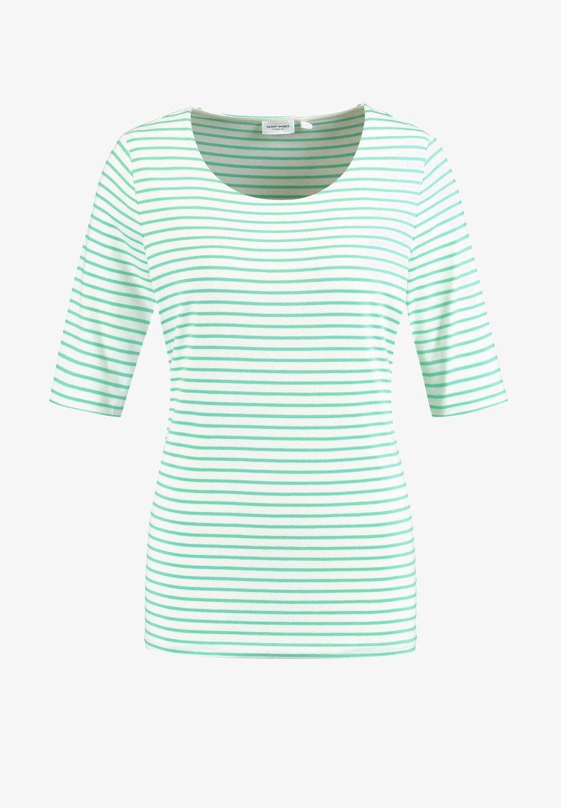 Gerry Weber - 1/2 ARM GERINGELTES - Print T-shirt - grün/ecru/weiss ringel1