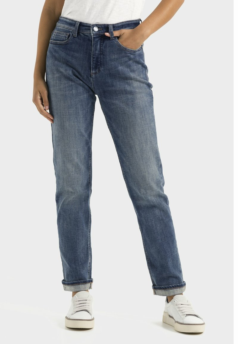 camel active - LOOSE FIT JEANS - Relaxed fit jeans - mid blue used tint