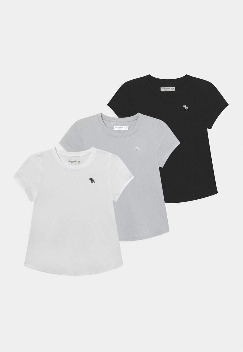 Abercrombie & Fitch - CORE CREW 3 PACK  - Jednoduché triko - white/black/grey