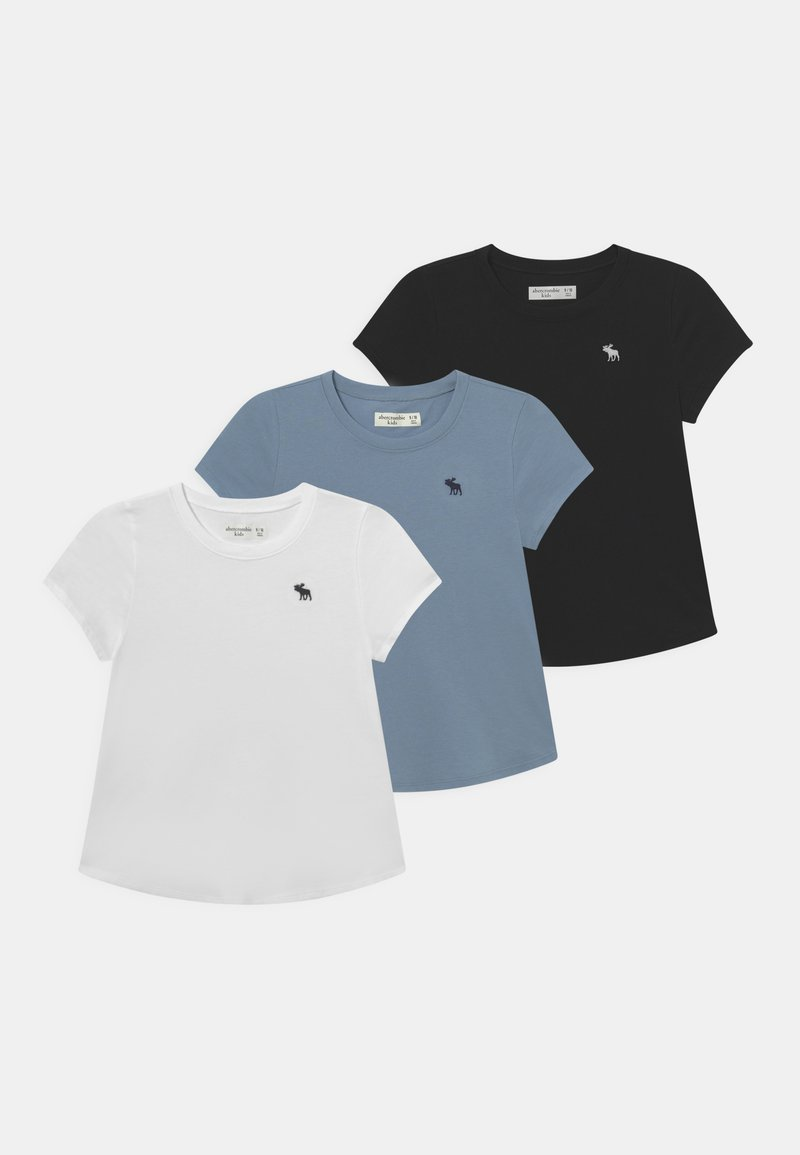 Abercrombie & Fitch - CORE CREW 3 PACK  - Basic T-shirt - white/black/grey