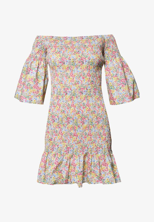SHIRRED BARDOT MINI DRESS - Robe d'été - multi
