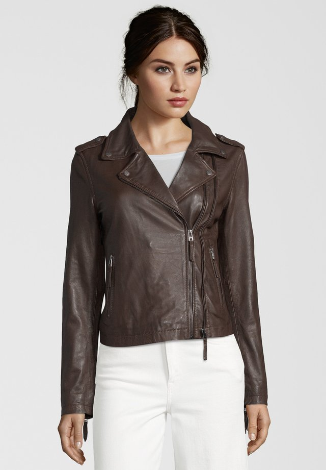 COOKIE - Leather jacket - dark brown