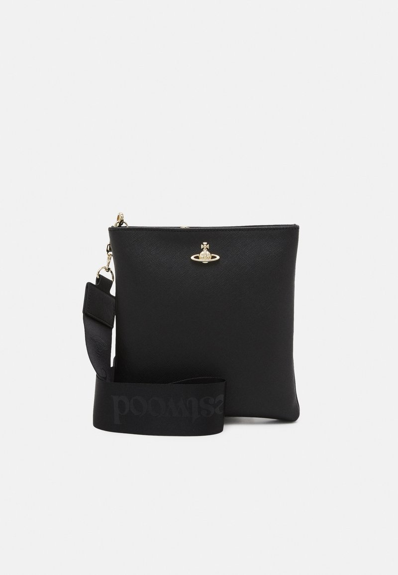 Vivienne Westwood - ORB SQUARE CROSSBODY WITH STRAP UNISEX - Across body bag - black/gold-coloured