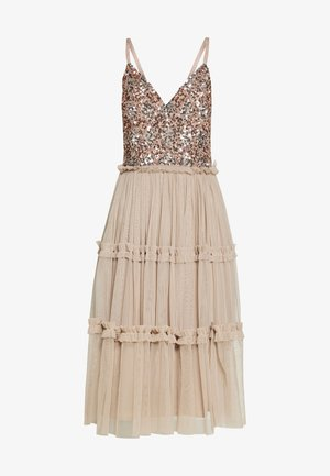 STRAPPY SEQUIN MIDI DRESS WITH ROUCH DETAILED SKIRT - Cocktailjurk - taupe blush