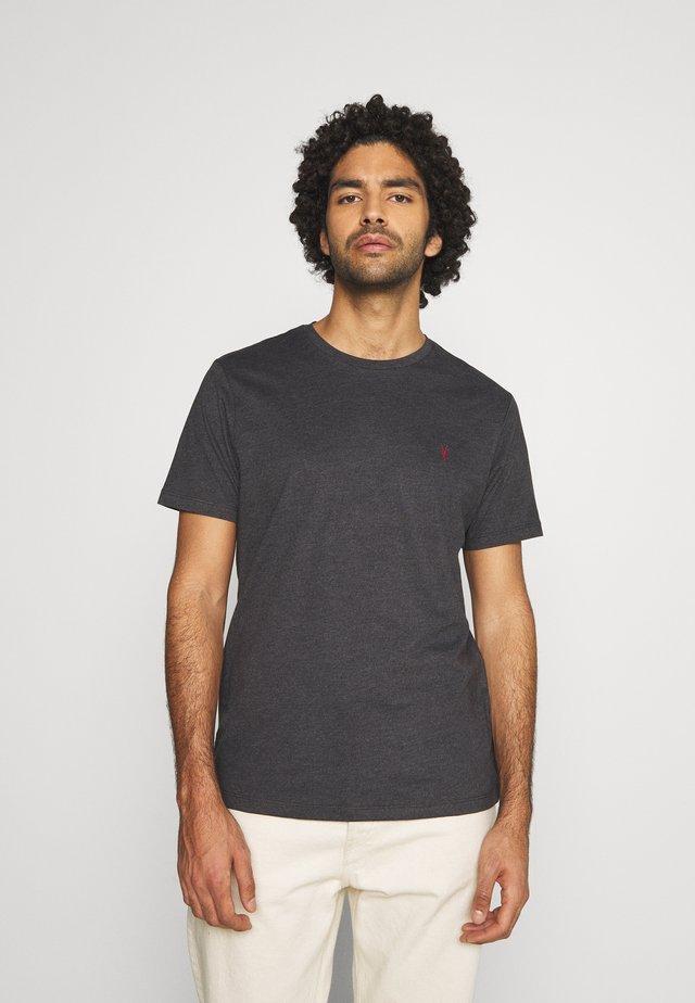 BRACE CONTRAST CREW - T-shirt basique - soot black marl