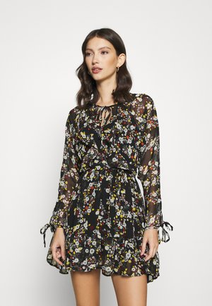 V NECK FLOUNCE MINI - Day dress - multi