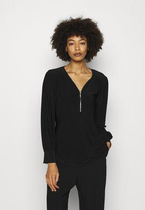 ZIP FRONT - Long sleeved top - black