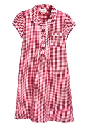 RED BUTTON FRONT LACE GINGHAM DRESS (3-14YRS) - Košilové šaty - red