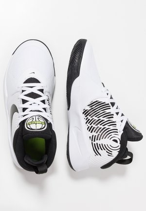 TEAM HUSTLE D 9 UNISEX - Basketball shoes - white/black/volt